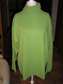 Pull en laine vert a col roulé