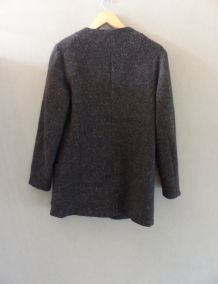 Manteau gris en laine moucheté