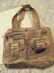 Sac Cuir CHLOE Gris Aspect Vintage Used Bon Etat