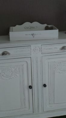 enfilade, bahut meuble blanc cassé 2 portes 2 tiroirs coques tiroirs en céramique