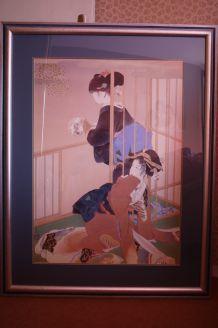 Tableau japonais 2 geishas cadre décoration maison