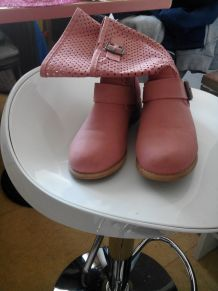 Chaussures femme bottines roses 36
