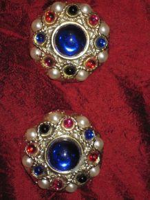 Boucles vintage à clips rondes bleu/blanc/rouge