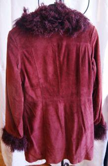 Manteau prune 38/40 en peau