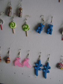 boucles d'oreilles en fimo faite mains