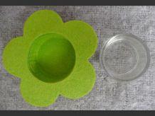 Lot de 3 Photophores avec support en Feutre Rose et Vert