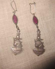 Boucles d'oreilles en métal argent égyptienne