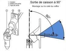 Store - Sortie de caisson laqué blanc 45° à 90° avec cardan acier