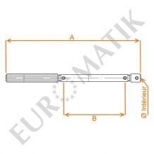 Poignée manivelle de rechange en Aluminium plein - Embouts Ø intérieur 13 mm femelle