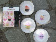 Assiettes à dessert cupcakes - jamais utilisées