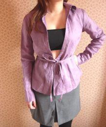 Chemise NAF NAF top cache coeur kimono lacet violet parme T36