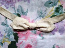 Noeud papillon coton blanc vintage