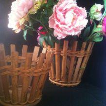 2 Cache Pot en Bambou & Rotin Vintage