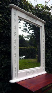 Grand miroir sculpté, trumeau, ancien dessus de cheminée d'un château