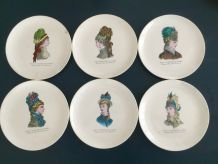 Série de 6 assiettes à dessert Gien Petit Courrier des Dames 50