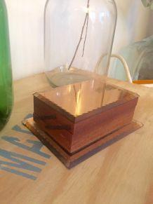 Boîte à cigarettes années 50 miroir rose cuivre