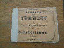 VIEUX RECUEIL DE PARTITION INDIANA ET LE TORENT VALSES POUR PIANO MARCAILHOU