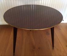 Table basse tripode en bois verni 60