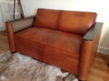 Canapé cuir Vintage Années 30