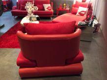 Canapé 3 pieces rouge et orange