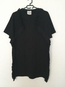 Robe sweat à franges noire