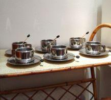 Service à café métallique d'origine italienne des années 70