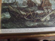 tableau ancien de bataille navale