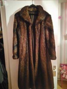 Manteau long en fourrure véritable