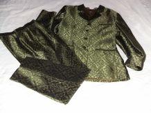 Tailleur pantalon brocard vert François FAVEL 40