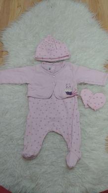 Pyjama + bonnet + moufles 3 mois Marèse