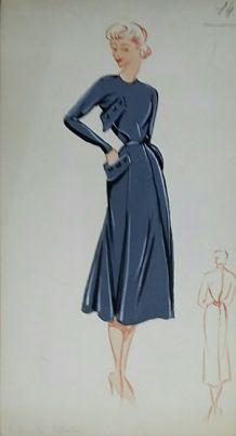 Croquis Mode 1950 série de robes bleues