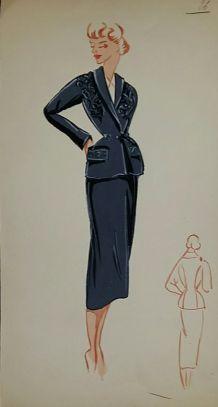 Croquis Mode 1950 / Tailleurs et robes bleus