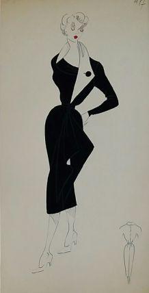 Croquis Mode 1950  Robes noires