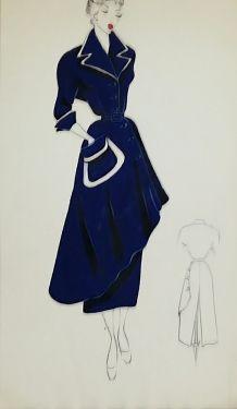 Croquis Mode 1950 Manteaux