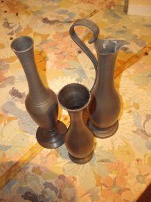 Vases Soliflores en Etain