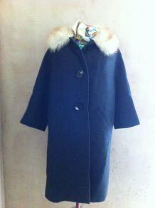 Manteau années 50 laine fourré renard