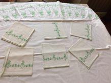 Nappe ronde en coton (1,70m)+6 serviettes