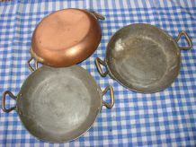 Cuivre 3 plats à oeufs