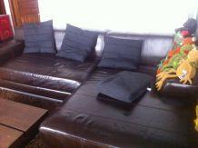 Canapé en marron, cuir véritable Ikea Kramfors