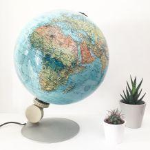 Globe terrestre vintage, mappemonde années 70