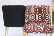 Paire de fauteuils vintage année 60 imprimée seventies.