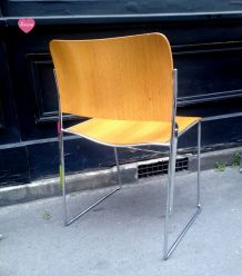 Lot de 6 chaises scandinaves bois et chrome-1970