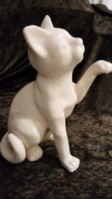 Jolie statuette chat ceramique craquelé