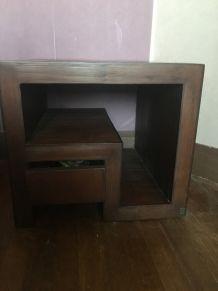 2 Tables de chevet avec tiroir Teck et Bambou