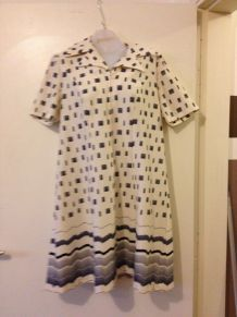 ROBE VINTAGE annee 70 « Creation Jane Delfin - France » - T. 46