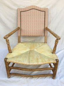Grand fauteuil paillé style provençal