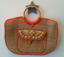 Sac/cabas rafia et coton des années 70