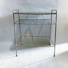 """Table d'appoint, porte-revues """"string"""" 60s"""