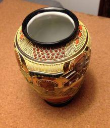 Vase en porcelaine japonaise Décor Satsuma noir