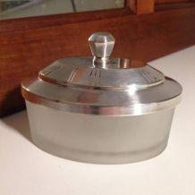 Coffret verre et métal argenté années 50